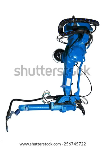 Blue Industrial machine part on white background - stock photo