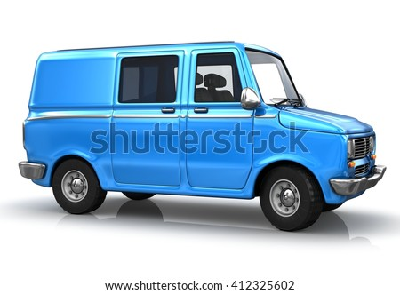 Blue industrial van on a white background. 3d illustrated.