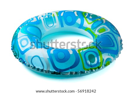 Blue inflatable round  tube isolated on white - stock photo