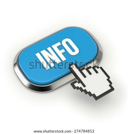 Blue info button with metallic border on white background - stock photo