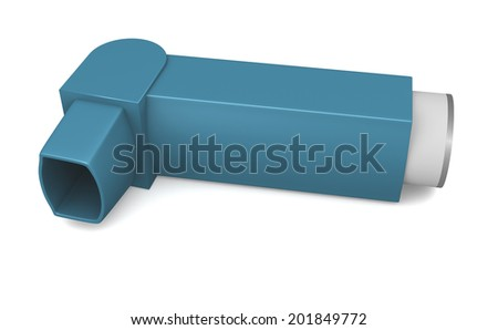 Blue inhaler for asthma or other medical lung issues - stock photo