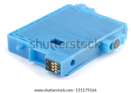 Blue ink printer cartridge isolated on white - stock photo
