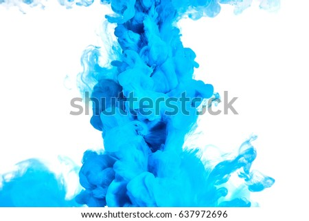 Blue ink swirling in water, Color drop in water photographed in motion
