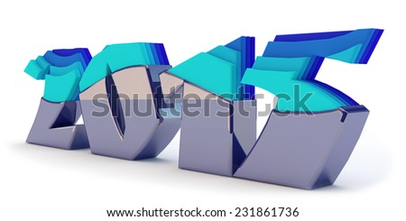 blue inscription 2015 with step effector - stock photo