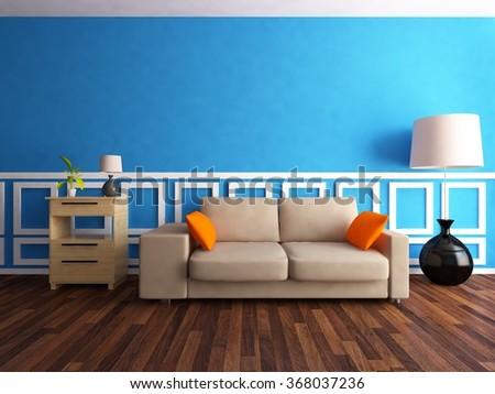 blue interior with sofa.3d concept - stock photo