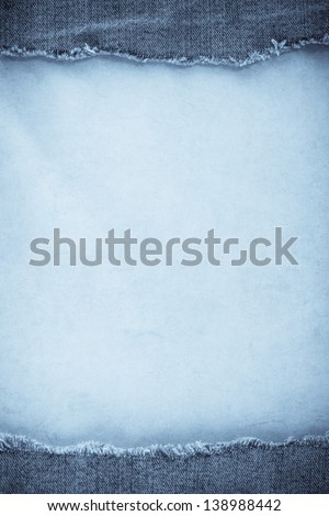 blue jean and old paper background - stock photo