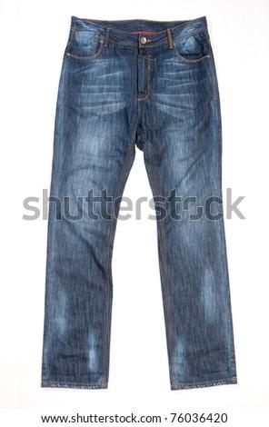 blue jean denim over white background - stock photo