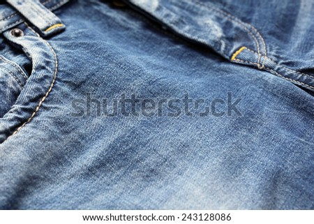 Blue jeans close-up - stock photo