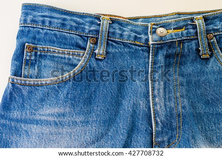 Blue jeans fabric with pocket background - stock photo
