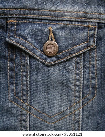 Blue jeans fabric with pocket can use as background - stock photo