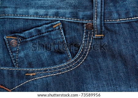blue jeans front pocket - stock photo
