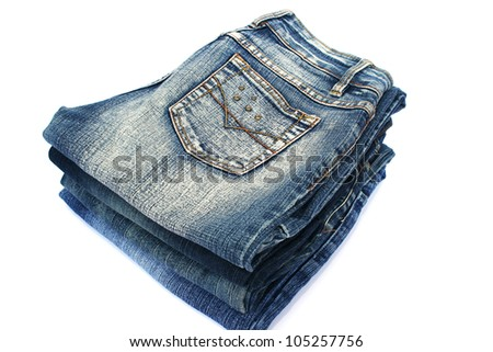 Blue jeans isolated on white background. - stock photo