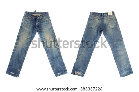 Blue jeans isolated on white background, Front and rear for design work - stock photo
