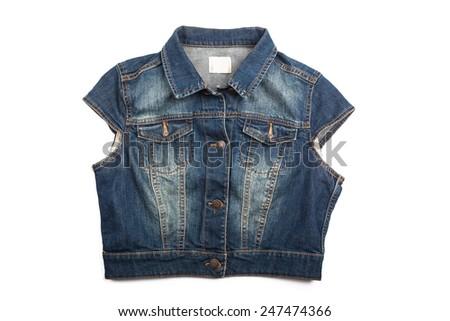 Blue jeans jacket vest isolated on white background - stock photo
