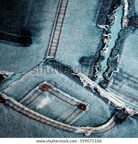 blue jeans pocket stitching and tearing texture  - stock photo
