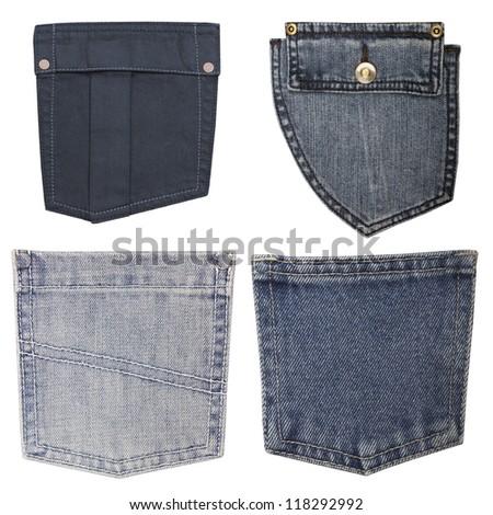 blue jeans pockets isolated on white background, set - stock photo