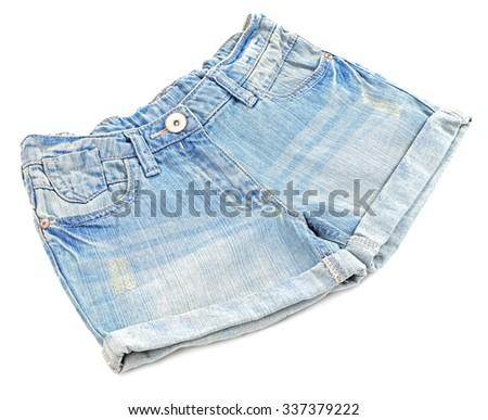 Blue jeans shorts isolated on white background - stock photo