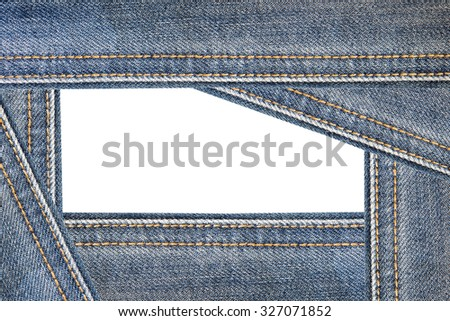 Blue Jeans texture background on white background for presentation and business