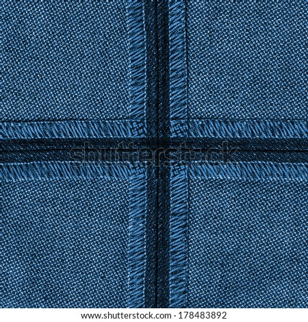 blue jeans texture,backing seams - stock photo
