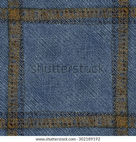 blue jeans texture, seams in shape of the frame - stock photo