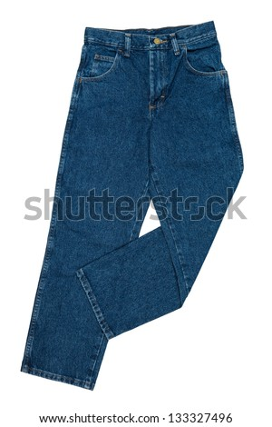 Blue Jeans with Bent Leg, Boy's Size, Front View, Isolated on White