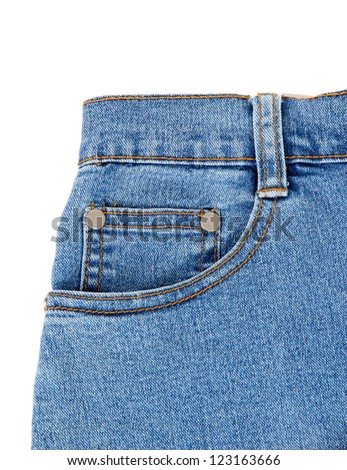 Blue jeans with pocket closeup - stock photo