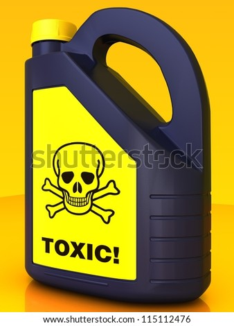 Blue Jerrycan of poison on a yellow background