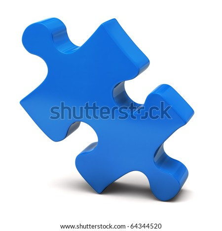 Blue Jigsaw Piece - stock photo