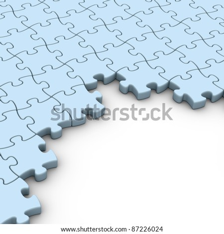 blue jigsaw puzzles background with white copyspace - stock photo