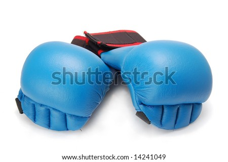 Blue karate gloves. Isolated on white. Clipping path included.