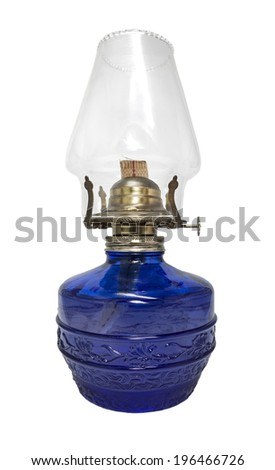 Blue kerosene lamp isolated on white background. - stock photo