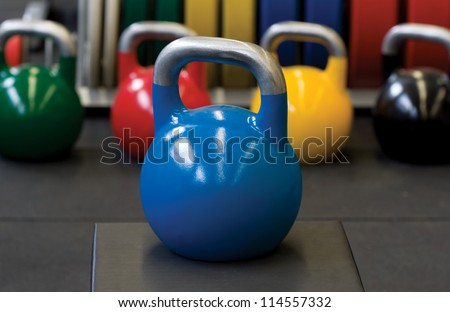 Blue Kettle Bell Weight Steel Composition - stock photo