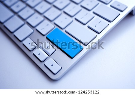 Blue Keyboard empty space free for the word - stock photo