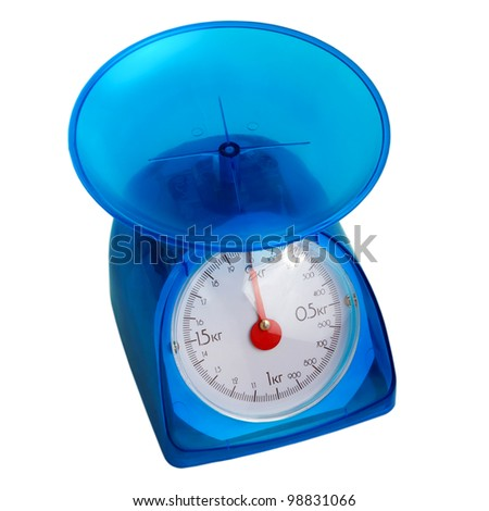 blue kitchen scales isolated (clipping path)