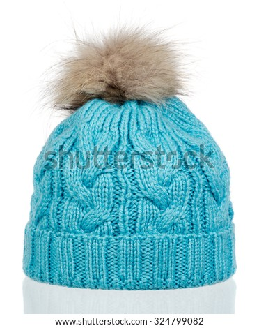 blue knitted wool hat with isolated on white background - stock photo