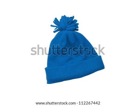 Blue knitted wool hat with pom pom isolated on white background - stock photo