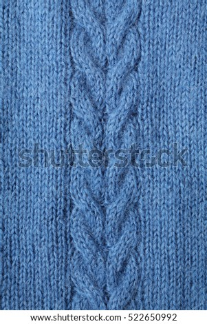 Blue knitted wool texture