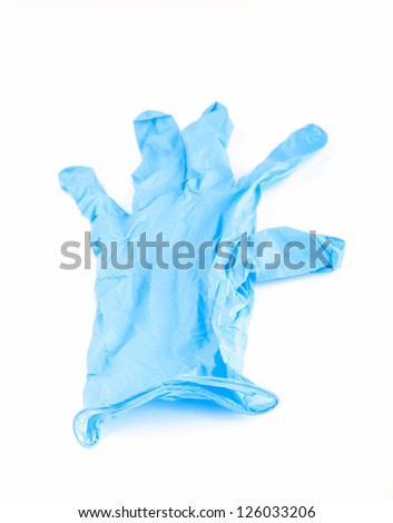 blue lab gloves studio shoot with white background