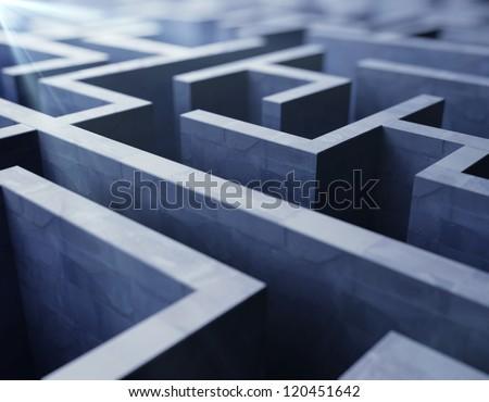 blue labyrinth, complex problem solving concept - stock photo