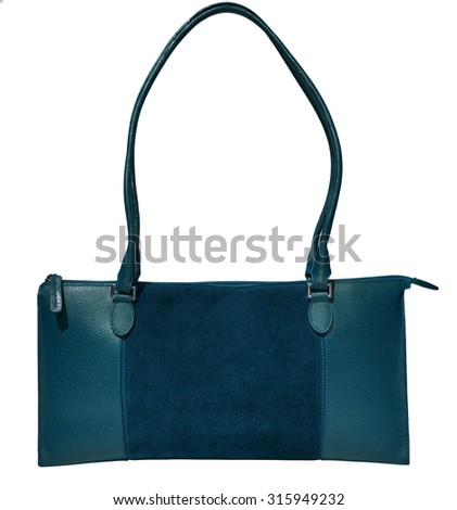 Blue ladies handbag genuine leather - stock photo