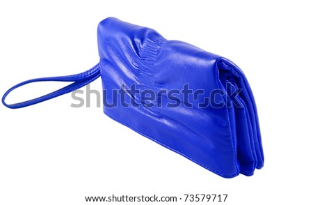 Blue lady bag over white surface
