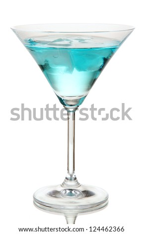 Blue Lagoon cocktail isolated on white - stock photo