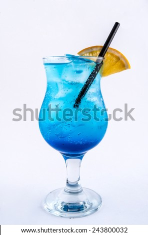 Blue Lagoon cocktail isolated on white background - stock photo