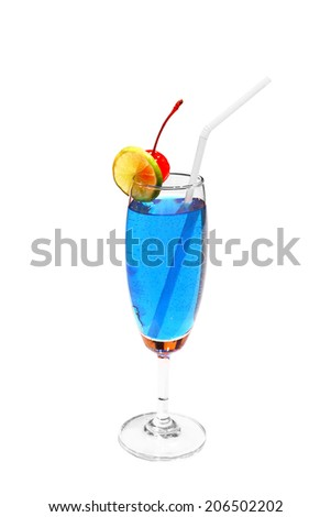 Blue lagoon cocktail with straw isolated, with clipping path. - stock photo