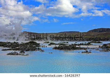 Blue lagoon, Iceland, a geothermal bath resort. - stock photo