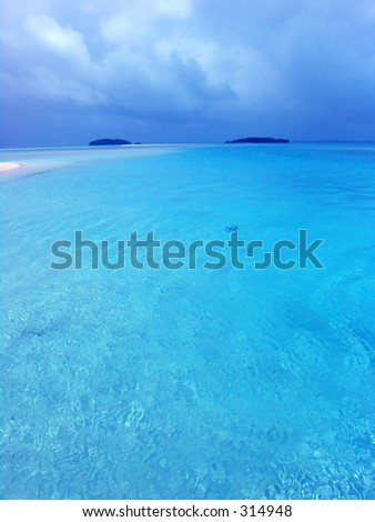 Blue Lagoon in the Cook Islands - stock photo