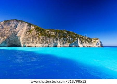 Blue lagoon of Navagio Beach on Zakynthos island, Greece - stock photo