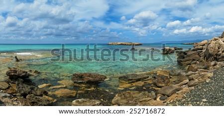 blue lagoon panorama on Akamas Peninsula near Latchi, Cyprus - stock photo