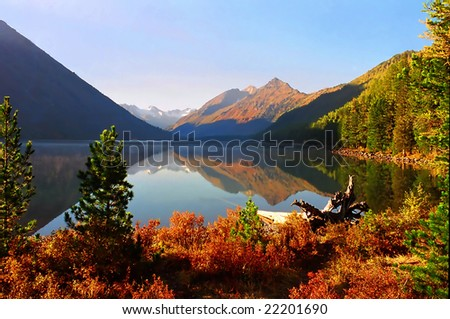 Blue lake among mountains and woods