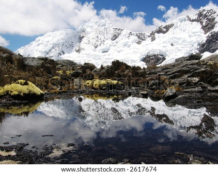 Blue lake,high mountain and white clouds in Cordilleras
